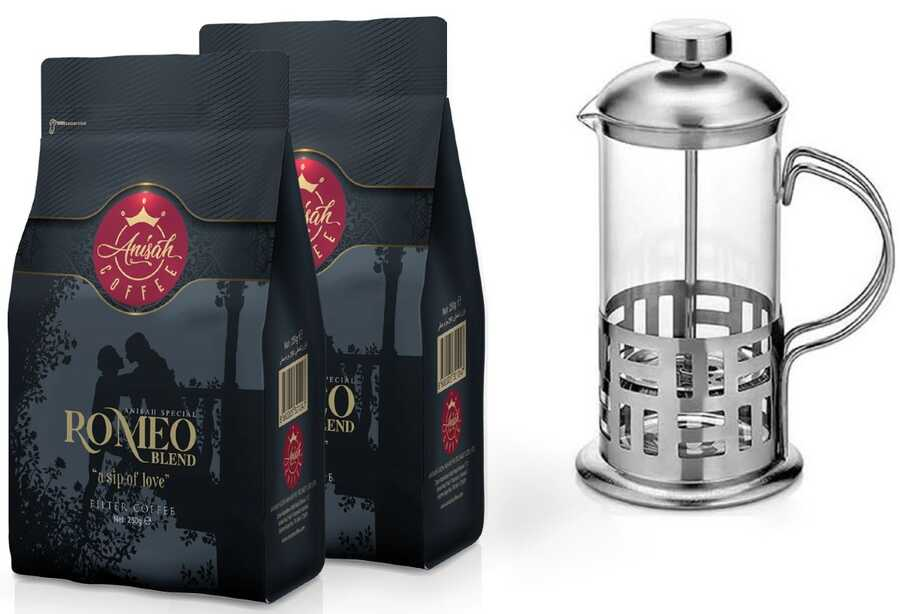 Anisah Romeo Blend 2 Adet Kahve ve French Press Seti